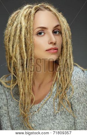 Portrait Of A Beautiful Girl With Dreadlocks