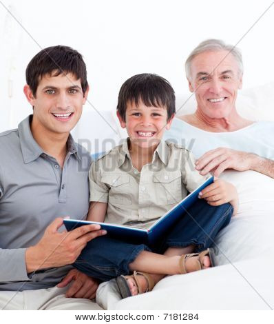 Laughing Father And Son Visiting Grandfather