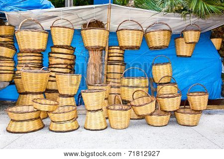 Handmade wicker basket in Ecovillage at Ithaca  island, Greece.