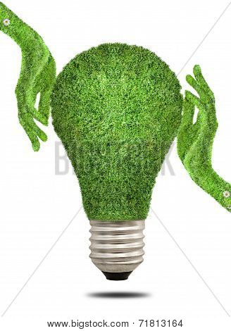 Hand holding ecology light bulb energy concept