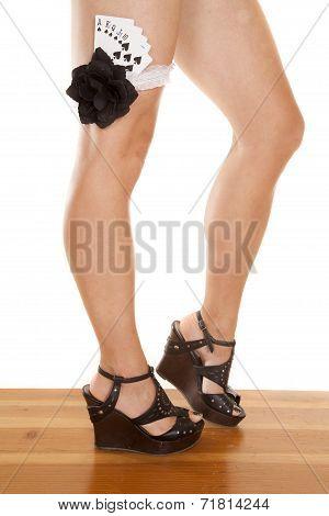 Woman Legs Cards In Garter Royal Flush Knee Up