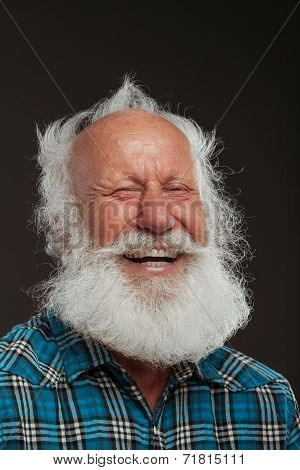 Old Man With A Long Beard Wiith Big Smile