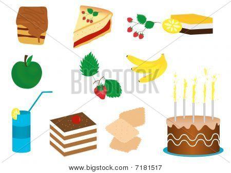 Ilustração de um conjunto de frutas e bolos