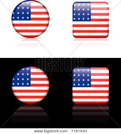 United States Flag Buttons On White And Black Background