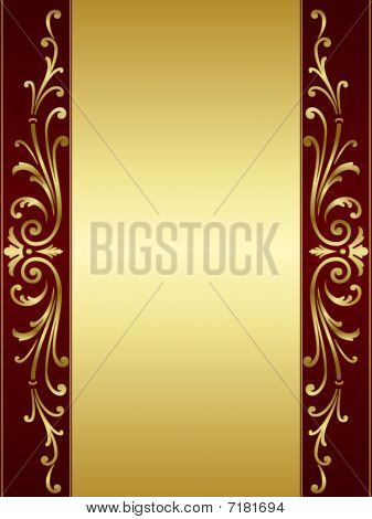 Vintage scroll background in red golden