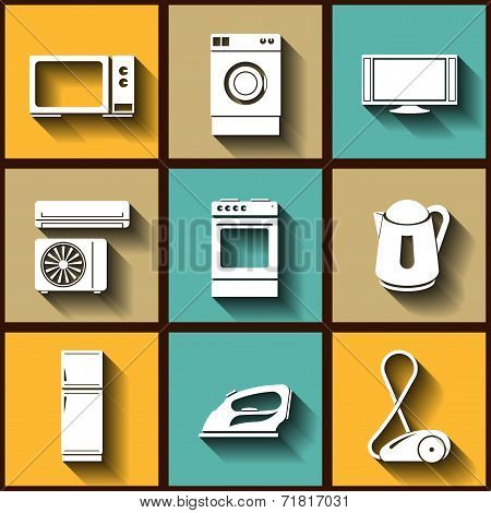 Set Of 9 Flat Icons Of Domestic Electric Appliances. Eps10