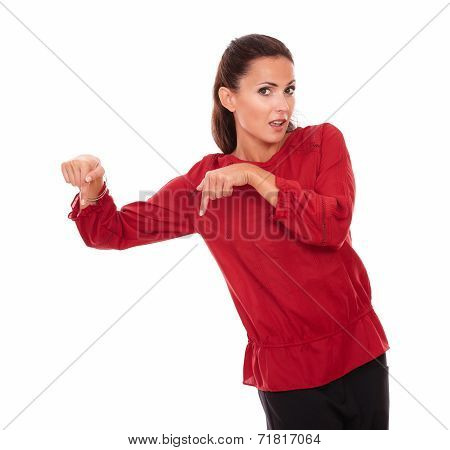 Alone Hispanic Woman Pointing Her Finger Down
