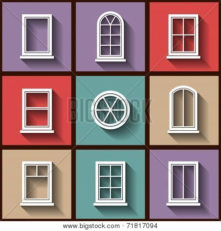 Set Of 9 Flat Icons Of Different Types Of Windows. Eps10