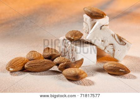 Blocks of soft turron nougat from Belgium with almonds