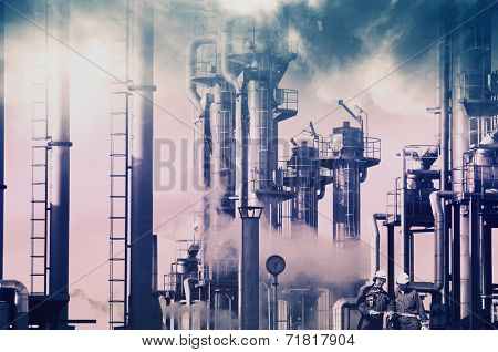 old oil and gas refinery, smoke and smog, petrochemical concept