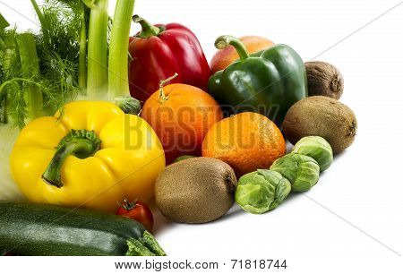 Some C Vitamin Fruits On White Background