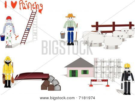 Wooden toys depicting 4 occupations