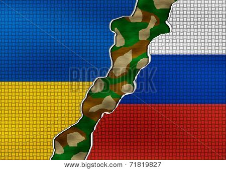 Ukraine and Russia Flag - conflict concept
