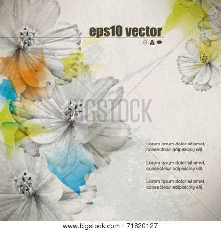 eps10 vector multicolor grunge vintage drawing flower concept background