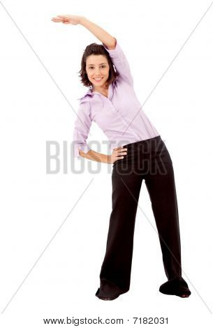 Friendly Business Woman Stretching