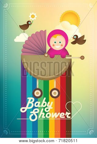 Illustration of cute baby girl. Vector illustration.