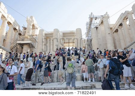 People Sightseeing Athena Nike Temple