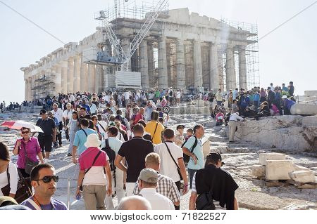 People Sightseeing Parthenon Temple