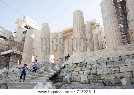 People Sightseeing Temple Of Athena Nike