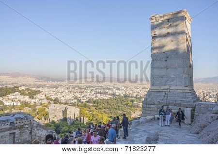 Tourists Sightseeing Athena Nike Temple