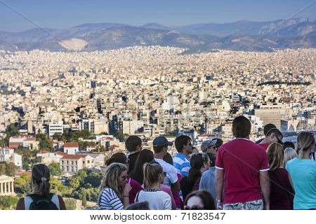 Tourists Watching Panorama Of Athens In Greece