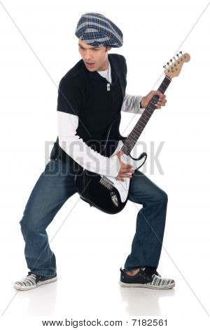 Asian Electric Guitar Player