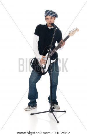 Asian Electric Guitar Player