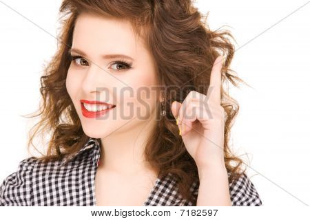 Teenage Girl With Her Finger Up