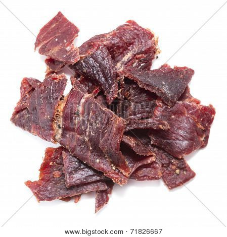 Beef Jerky Over White