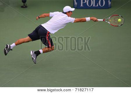 US Open 2014 finalist  Kei Nishikori  during final match against Marin Cilic