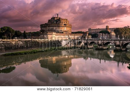 The Mausoleum Of Hadrian, Known As Castel Sant Angelo And The Sant Angelo Bridge, Rome, Italy