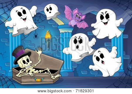 Haunted castle interior theme 2 - eps10 vector illustration.