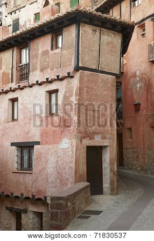 Picturesque House In Albarracin. Red Gypsum. Spain