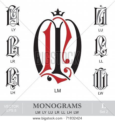 Vintage Monograms LM LY LU LR LL LH LW can also be ML YL WL