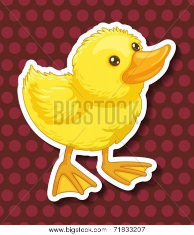 Illustration of a closeup duckling with polkadot background