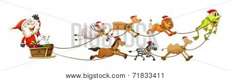Illustration of Santa Clause on a sledge with many animals