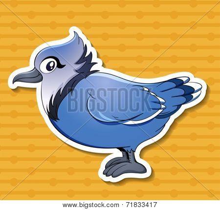 Illustration of a single blue bird