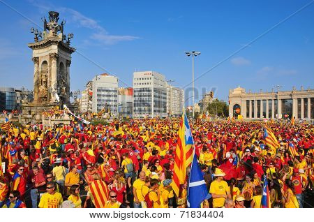 BARCELONA, SPAIN - SEPTEMBER 11: 1.8 million people demand to vote in a referendum for the independence of Catalonia on September 11, 2014 in Barcelona, Spain, during the National Day of Catalonia