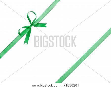 Green Thin Ribbon With Bow Composition