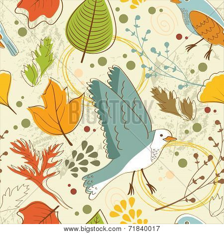 Autumn pattern with leaves and birds