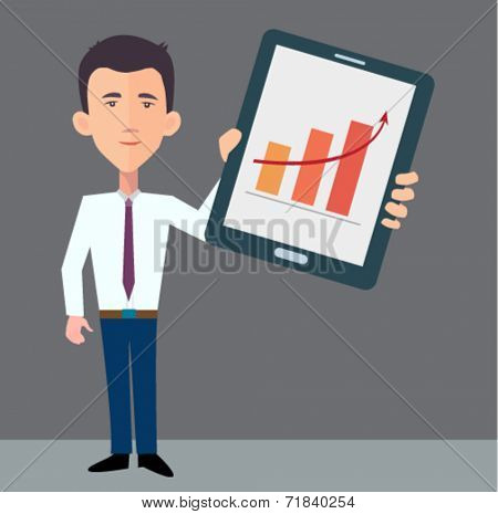 businessman presenting information on the tablet pc