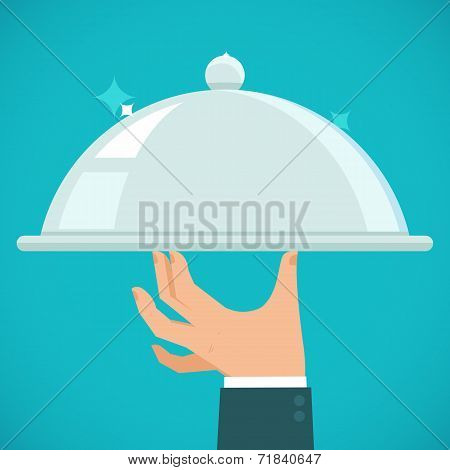 Vector Waiter Hand Holding Silver Plate