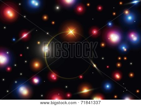 Eclipse With Colorful Star In Space