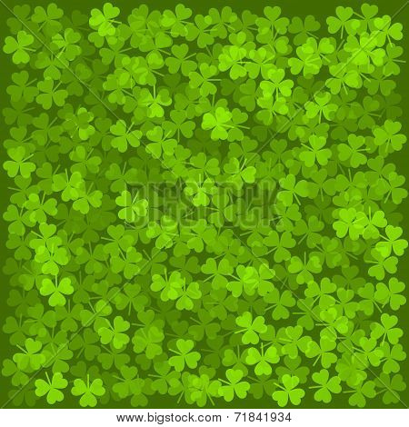 Clover Leaves Background. Green Texture. Vector