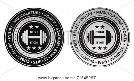 Bodybuilding fitness gym icons vector on a white background