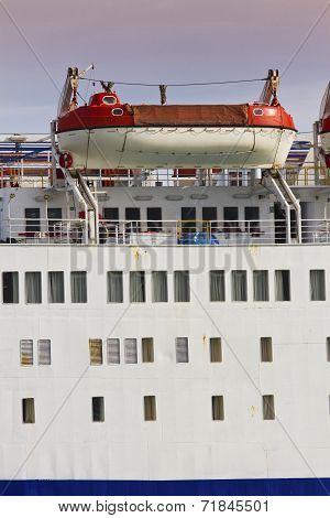 Lifeboats On Large Ship