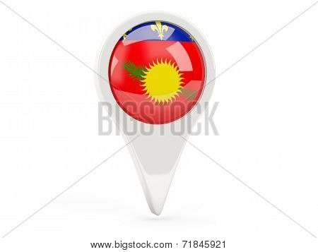 Round Flag Icon Of Guadeloupe