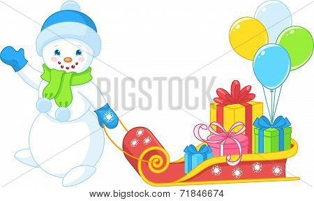 snowman carries gifts