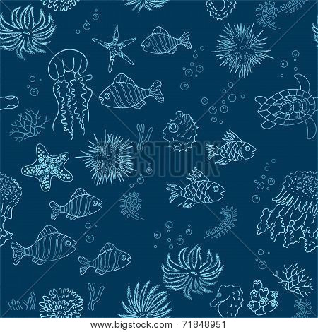 Hand Drawn Sea Theme Background