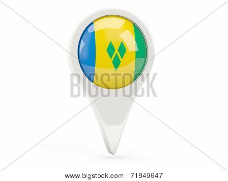 Round Flag Icon Of Saint Vincent And The Grenadines